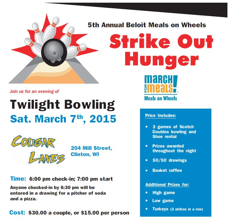 March for Meals Bowling to Strike Out Hunger @ Cougar Lanes | Clinton | Wisconsin | United States