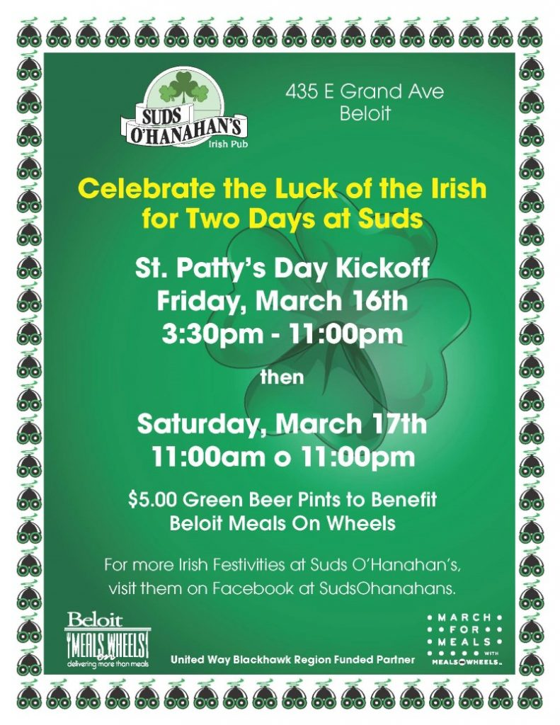 St Patrick's Celebration at Suds- March For Meals Event @ Suds O'Hanahan's | Beloit | Wisconsin | United States