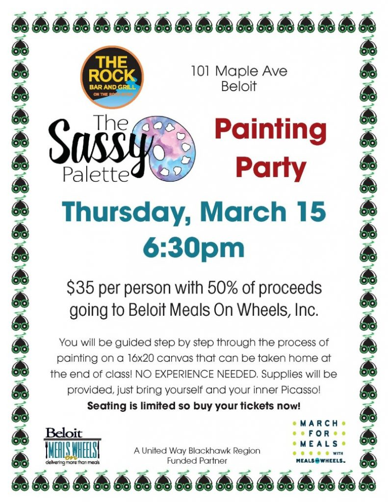 Sassy Painting Party at The Rock - March for Meals Event @ The Rock Bar & Grill | Beloit | Wisconsin | United States