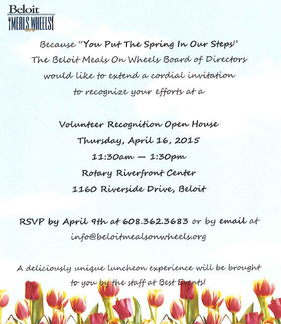 Volunteer Recognition Open House @ Rotary River Center   Beloit   Wisconsin   United States