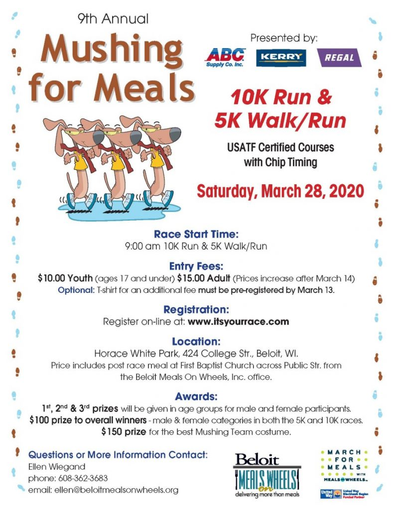 CANCELLED! Mushing for Meals Run/Walk  - March For Meals Event @ Race Start: Horace White Park | Beloit | Wisconsin | United States