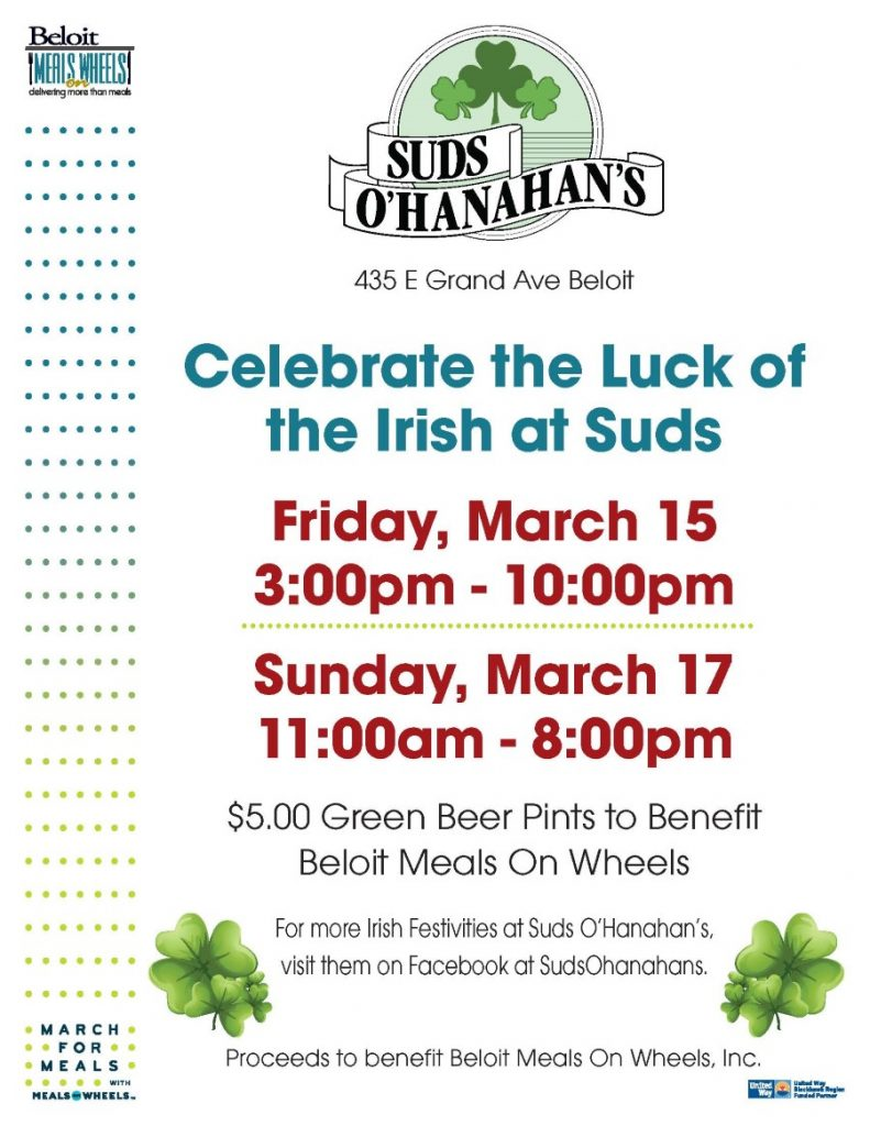 St Patrick's Celebration - March For Meals Event @ Suds O'Hanahan's | Beloit | Wisconsin | United States