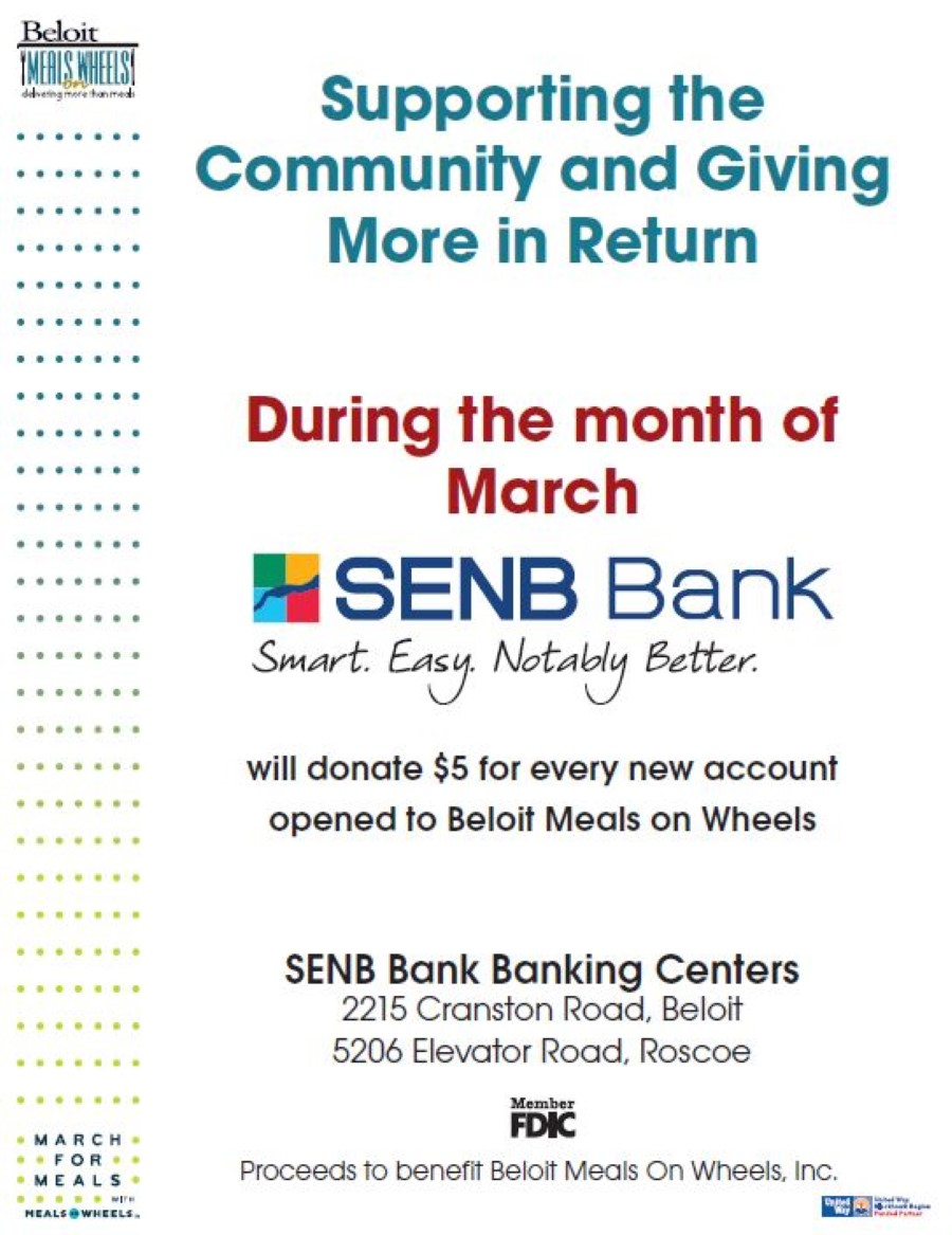SENB Bank Supporting the Community - March For Meals Event @ SENB Bank Banking Centers in Beloit and Roscoe | Beloit | Wisconsin | United States