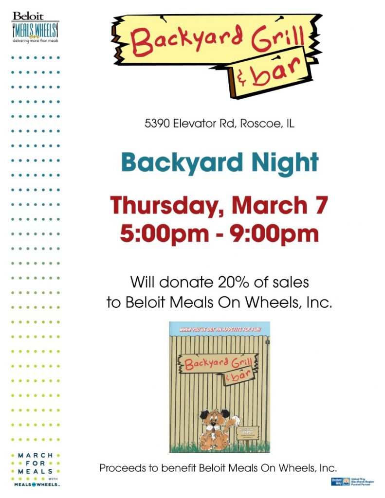 Backyard Night at Backyard Grill - March For Meals Event @ Backyard Grill | Roscoe | Illinois | United States