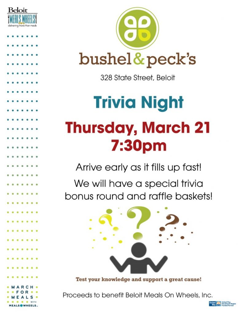 Trivia Night at Bushel & Pecks - March For Meals Event @ Bushel & Pecks | Beloit | Wisconsin | United States