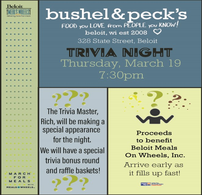 POSTPONED! Trivia Night at Bushel & Pecks - March For Meals Event @ Bushel & Pecks | Beloit | Wisconsin | United States