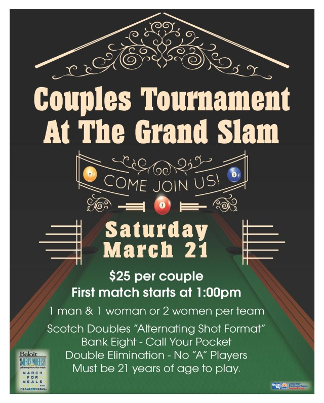 POSTPONED! Grand Slam Pub Pool Tournament - March For Meals Event @ The Grand Slam Pub | Beloit | Wisconsin | United States