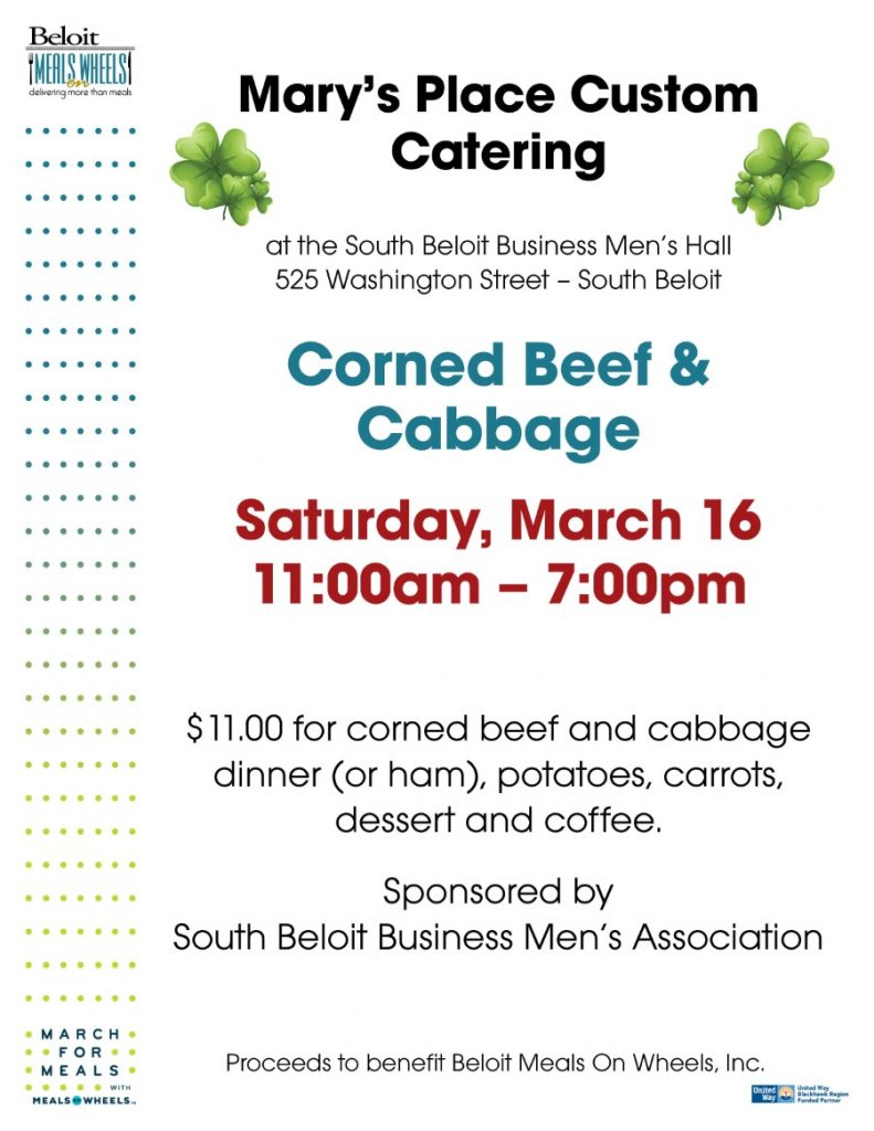 Corned Beef & Cabbage Dinner at Mary's Place - March For Meals Event @ South Beloit Business Men's Association | South Beloit | Illinois | United States