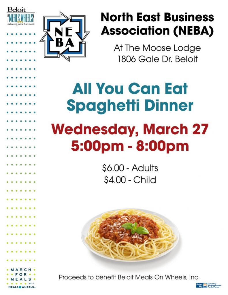 North East Business Association (NEBA) Spaghetti Dinner - March For Meals Event @ The Moose Lodge | Beloit | Wisconsin | United States