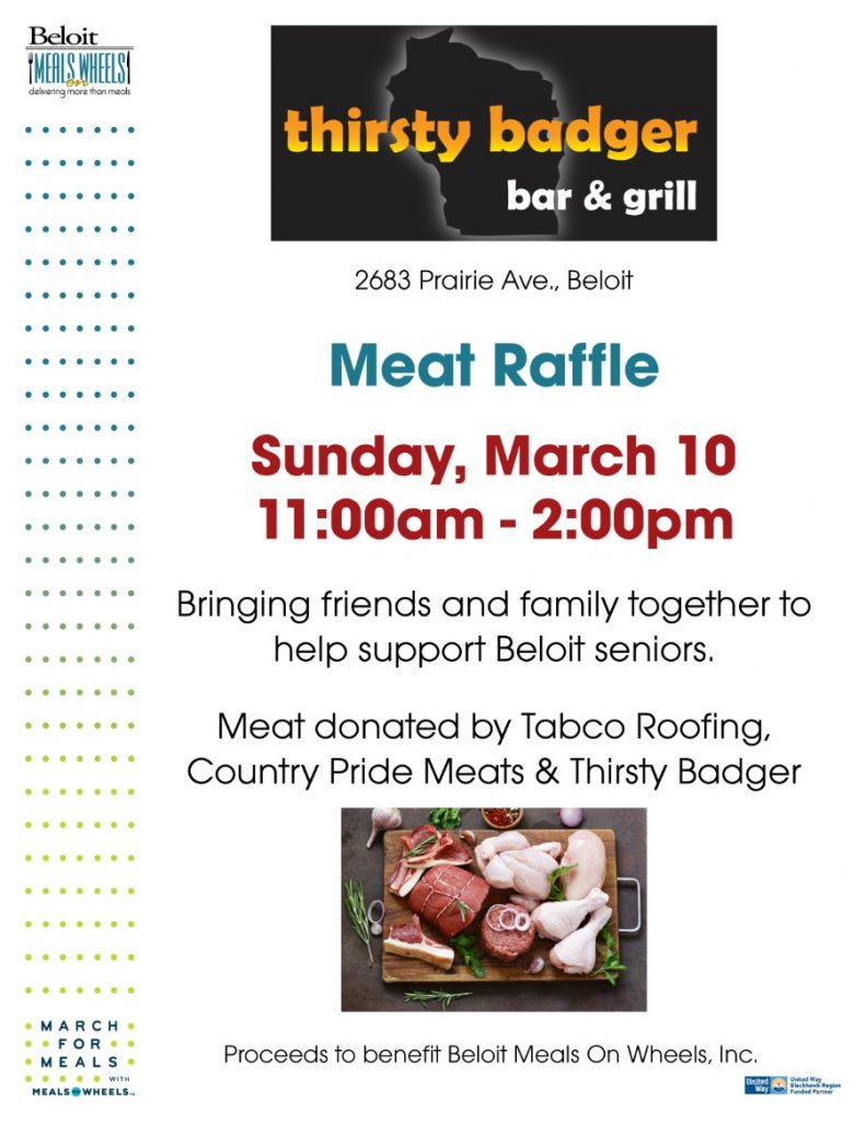 Thirsty Badger Meat Raffle - March For Meals Event @ Thirsty Badger | Beloit | Wisconsin | United States