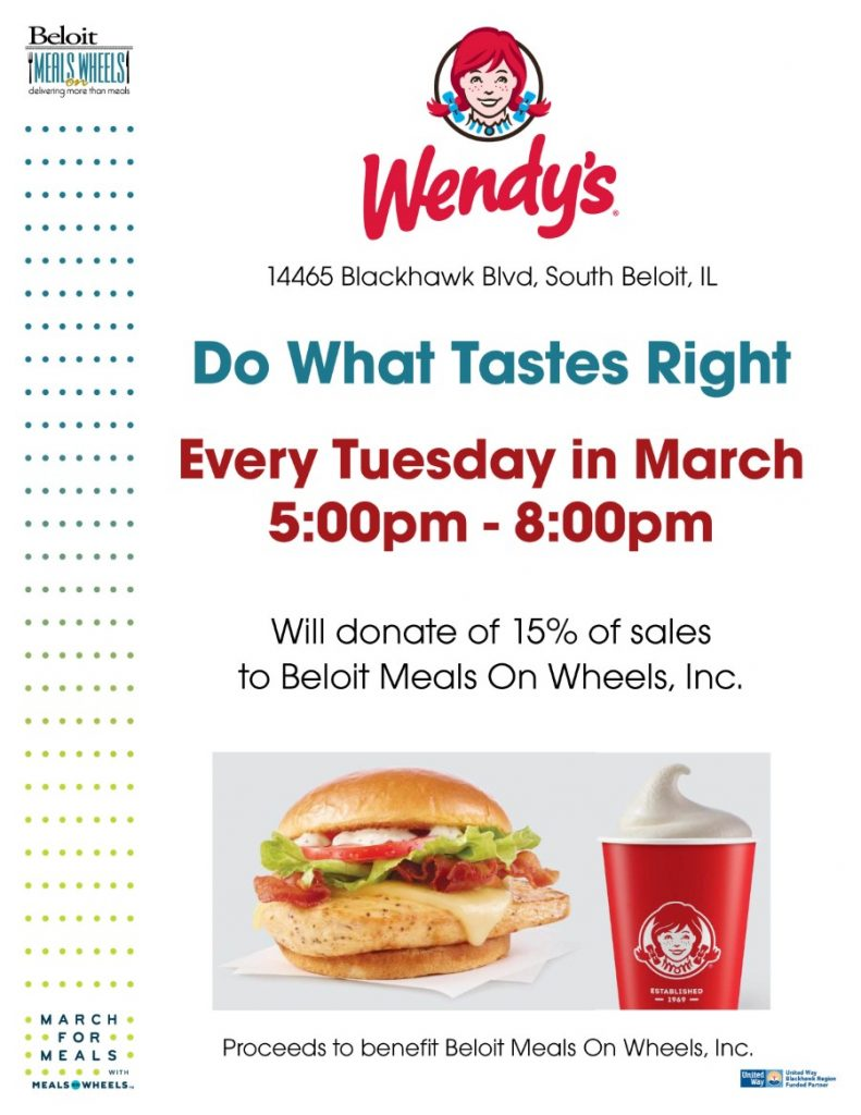 Do What Tastes Right - Wendy's South Beloit - March For Meals @ Wendy's South Beloit | South Beloit | Illinois | United States