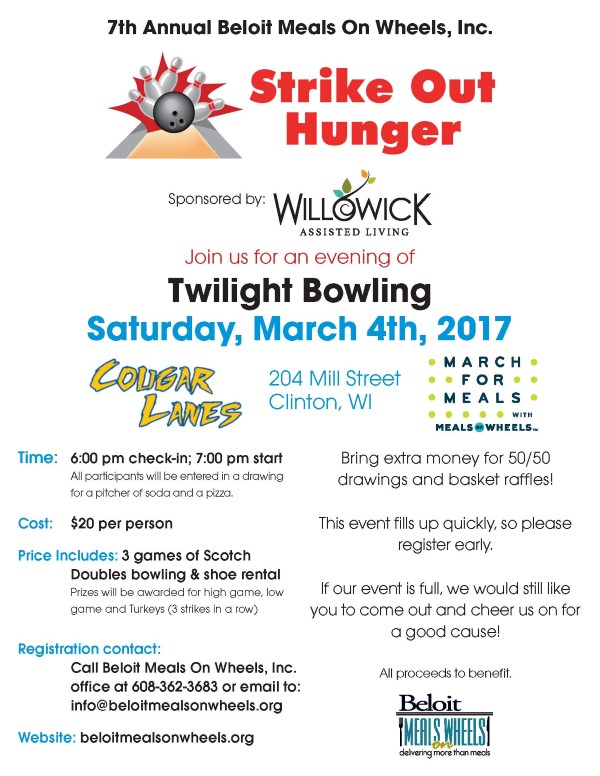 Come Strike Out Hunger! Bowling event for Beloit Meals on Wheels