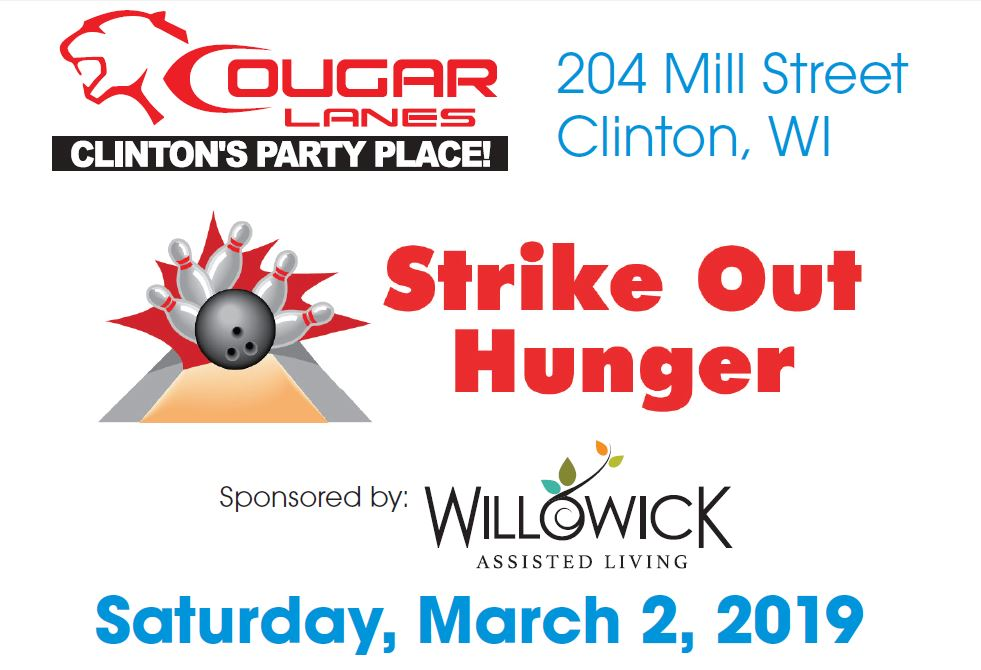 9th Annual Strike Out Hunger Bowling Fundraiser @ Cougar Lanes | Clinton | Wisconsin | United States