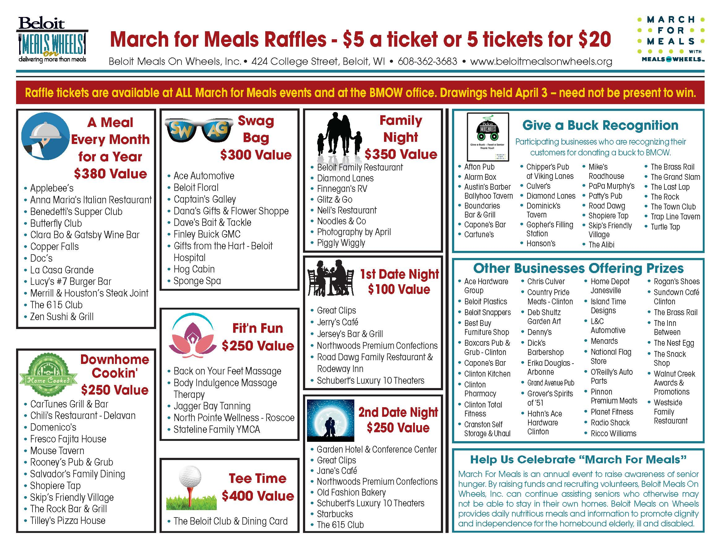 Winner of March For Meals Raffles Announced